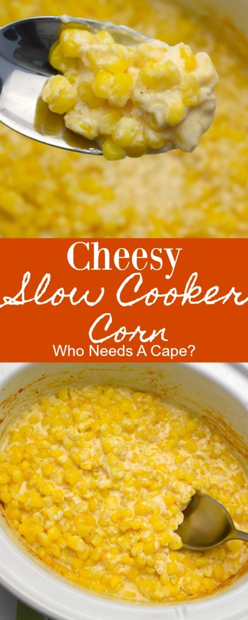 spoon holding corn over slow cooker full of corn