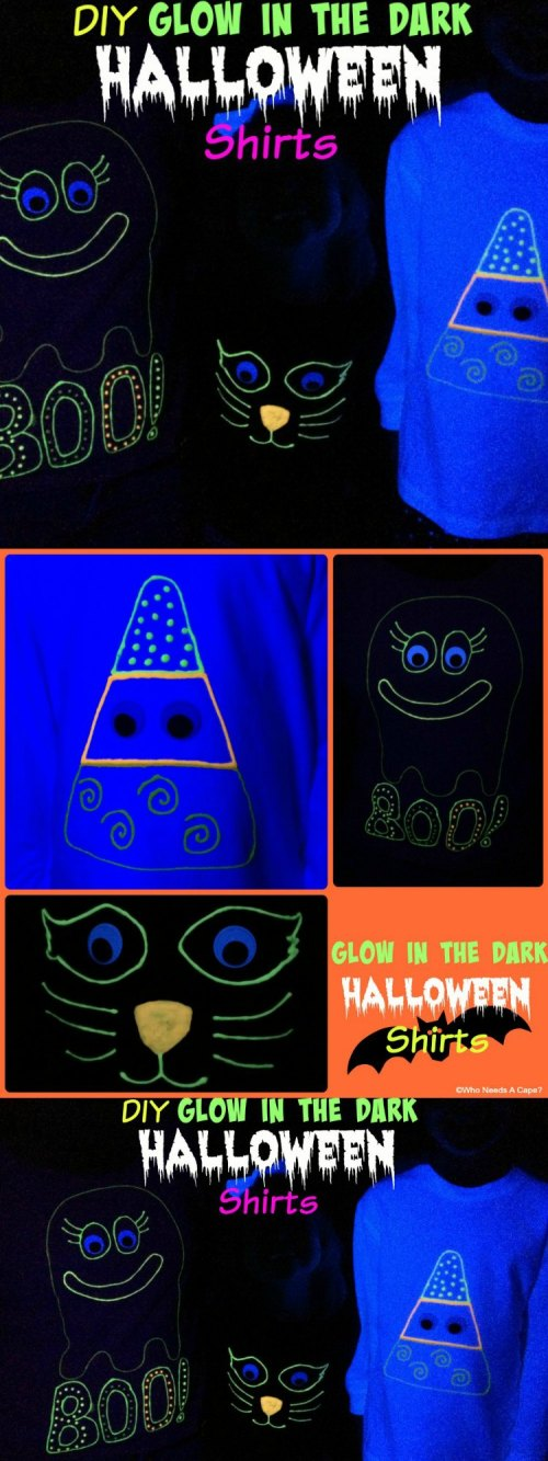 DIY Glow in the Dark Halloween Shirts. Such a fun family project using Tulip Glow in the Dark Fabric Paints, get creative you'll have a blast creating.