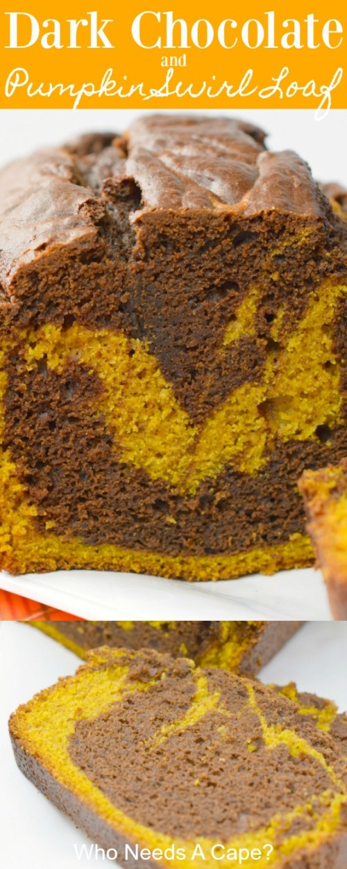 shot of loaf with swirls of chocolate and pumpkin on white platter