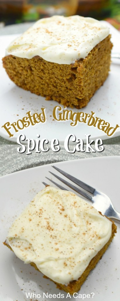 piece of frosted gingerbread spice cake on white plate with fork
