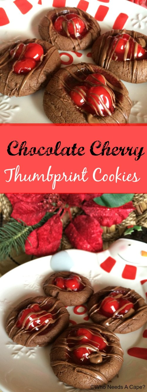 These Chocolate Cherry Thumbprint Cookies make holiday baking a delight! With big juicy cherries these are the perfect Christmas cookie!