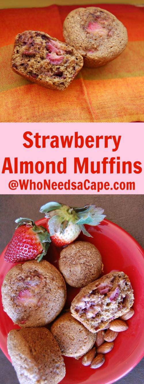 Strawberry Almond Muffins are a whole grain delicious muffin to make! Wake up and grab a healthy breakfast on the go or after school snack.