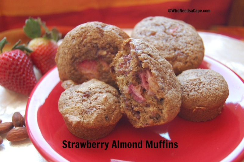 Strawberry Almond Muffins | Who Needs A Cape?