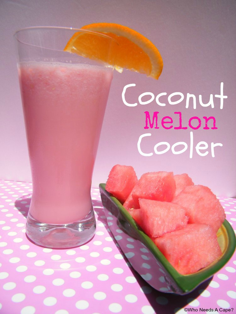 Coconut Melon Cooler is a super easy summertime beverage. With only refreshing watermelon and coconut milk it is also a healthy sipping cooler.