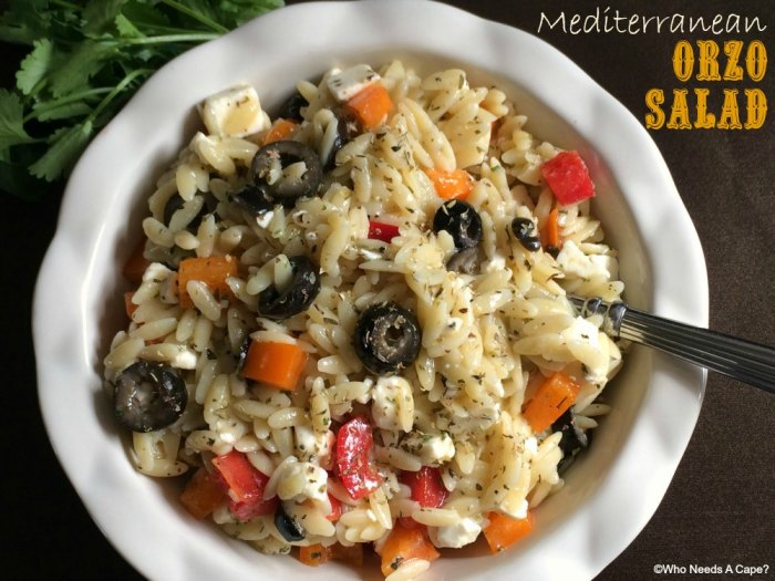 Mediterranean Orzo Salad | Who Needs A Cape?