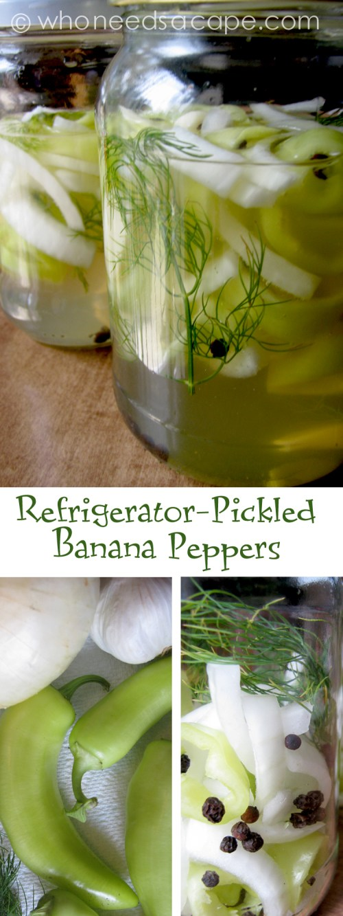Refrigerator-Pickled Banana Peppers ~ A great way to pickle peppers in the fridge, use those garden fresh veggies in this great recipe!