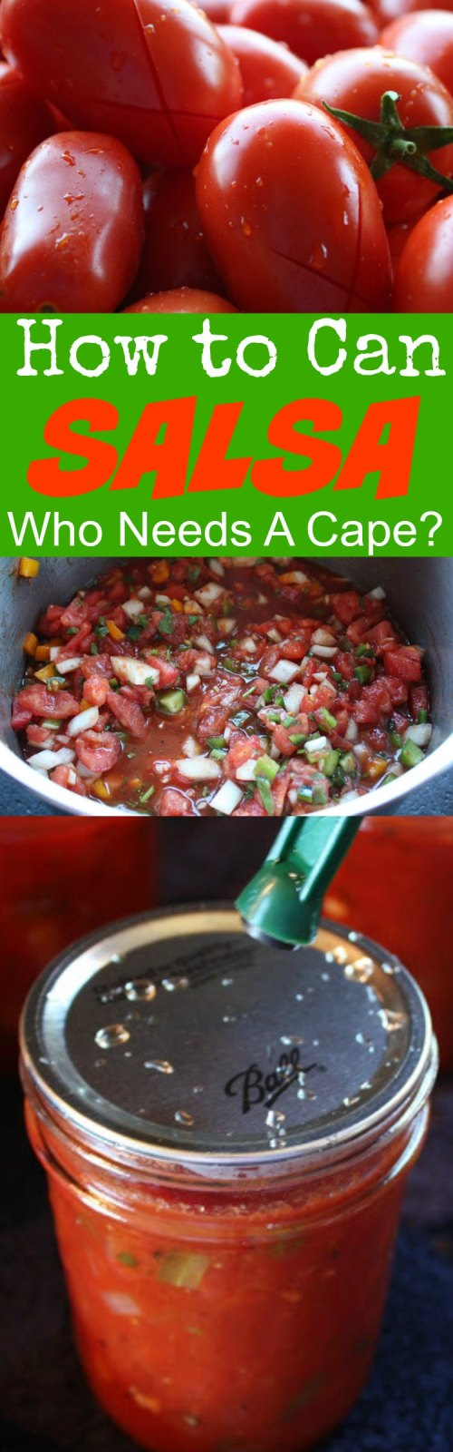 pile of prepped tomatoes for canning, a bowl of prepared salsa and a process shot of canning lid on jar
