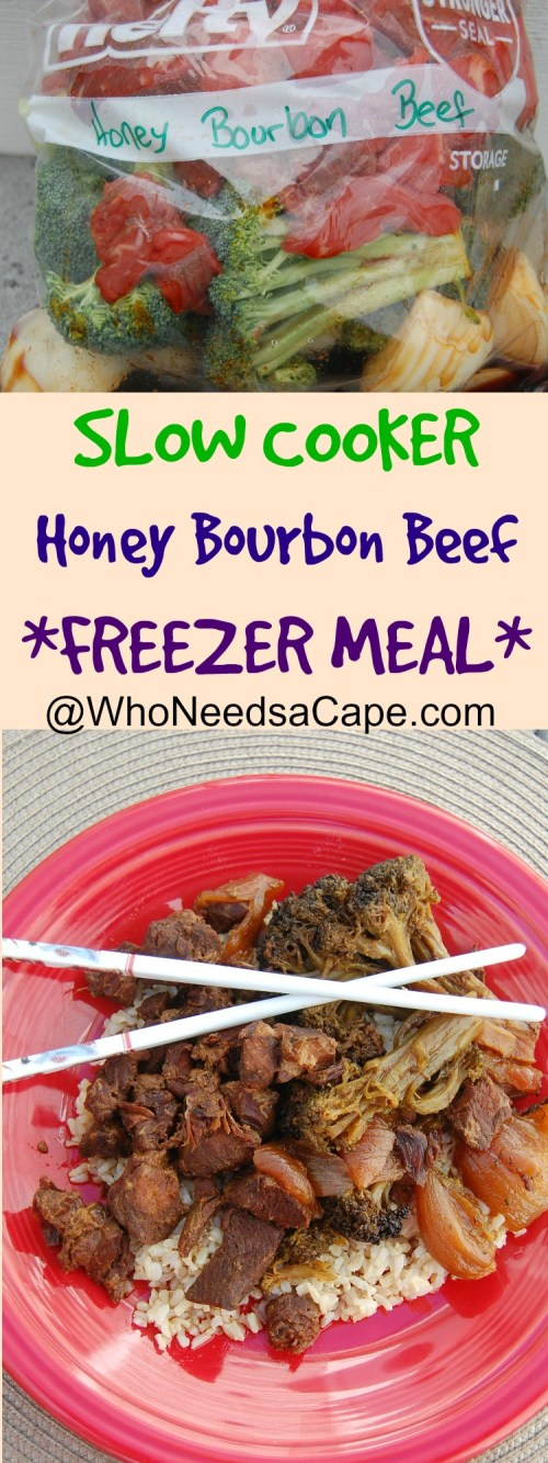 Slow Cooker Honey Bourbon Beef is a great and delicious dinner - AND it's a freezer meal! Your family will thank you for this meal!