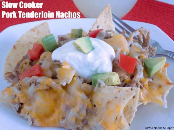 Flavorful nachos made with deliciously tender pork tenderloin cooked in your slow cooker.