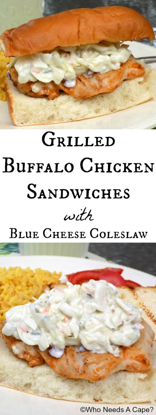 Grilled Buffalo Chicken Sandwiches with Blue Cheese Coleslaw will liven up your dinner table! Great summer meal, you'll love the flavors!