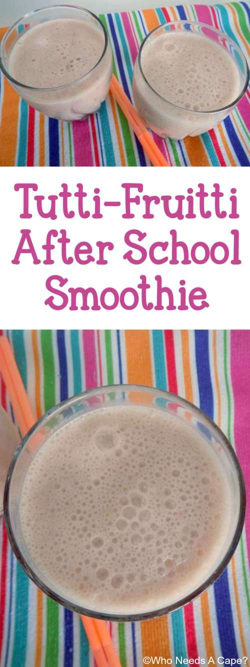 Kids coming home from school in need of a snack? Make a tasty & easy Tutti Fruitty After School Smoothie, they'll love this wholesome drink.