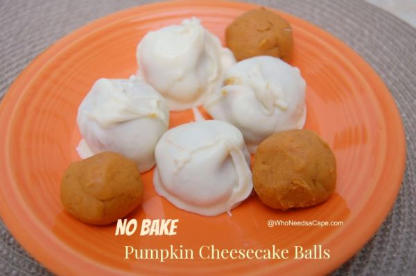 No Bake Pumpkin Cheesecake Balls | Who Needs A Cape?