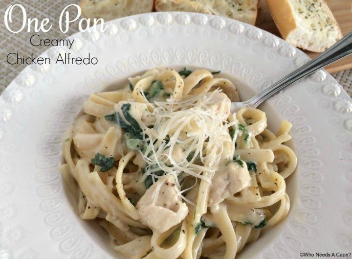 This One Pan Creamy Chicken Alfredo is a sanity saver on a busy night. By using prepared sauce and rotisserie chicken you'll have a yummy dinner in a snap.
