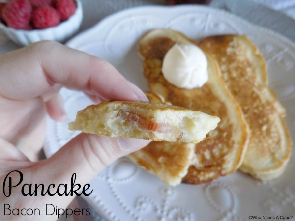 These Pancake Bacon Dippers are a fun way to enjoy pancakes and bacon at the same time. Perfect for holiday breakfast, or brunch, kids gobble them up.