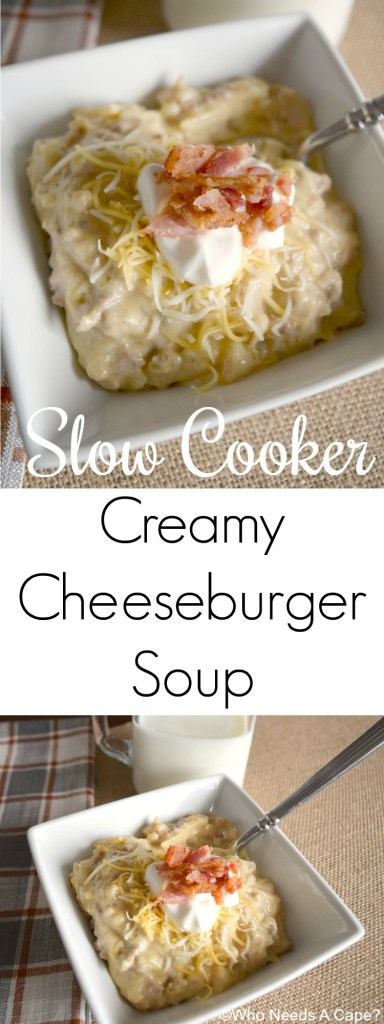 Let your crockpot do the work! Enjoy this Slow Cooker Creamy Cheeseburger Soup with a crusty loaf of bread! Add toppings of choice for a comforting dinner.