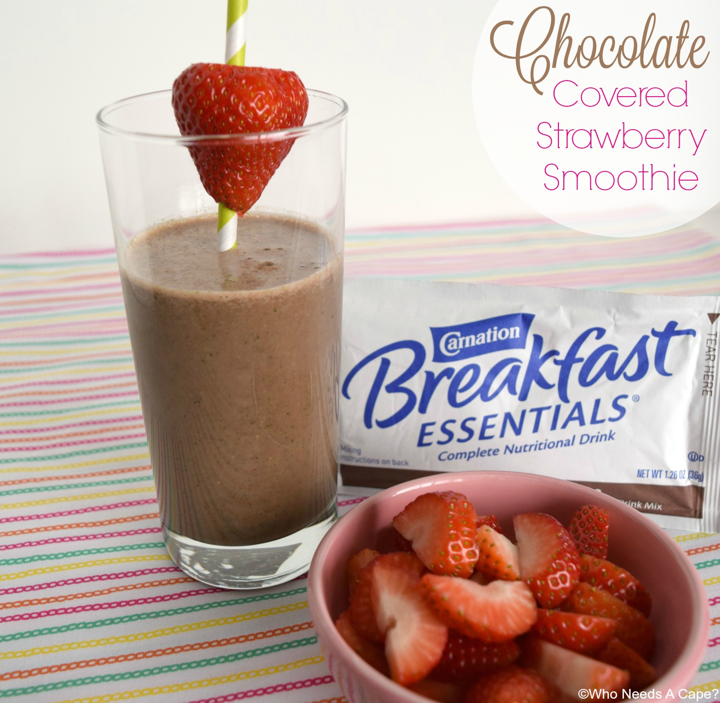 This Chocolate Covered Strawberry Smoothie is a deliciously easy solution to breakfast. In less than 5 minutes you'll have a tasty drink.