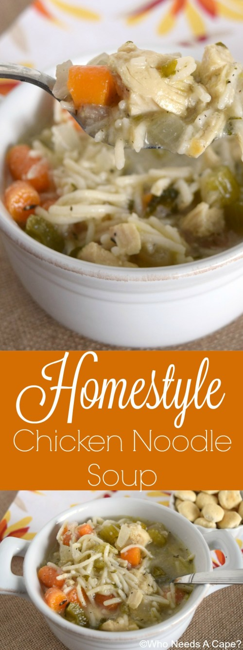 Have a bowl of this Homestyle Chicken Noodle Soup, straight from your slow cooker. Comforting and warm, a great dinner that you'll love. | Who Needs A Cape?
