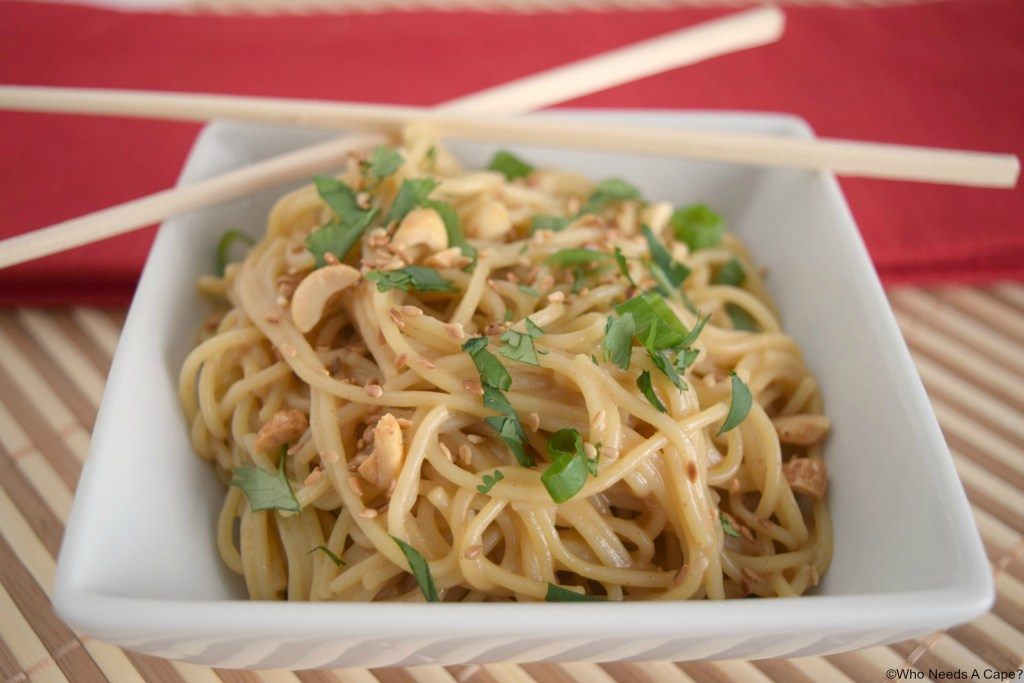 Ready in a snap these flavorful Saucy Sesame Peanut Noodles are the perfect compliment to Asian entrees. | Who Needs A Cape? |