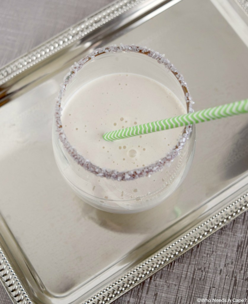 The Minty Leprechaun Shake is a tasty adult beverage that can either be a cocktail or even dessert! So yummy!