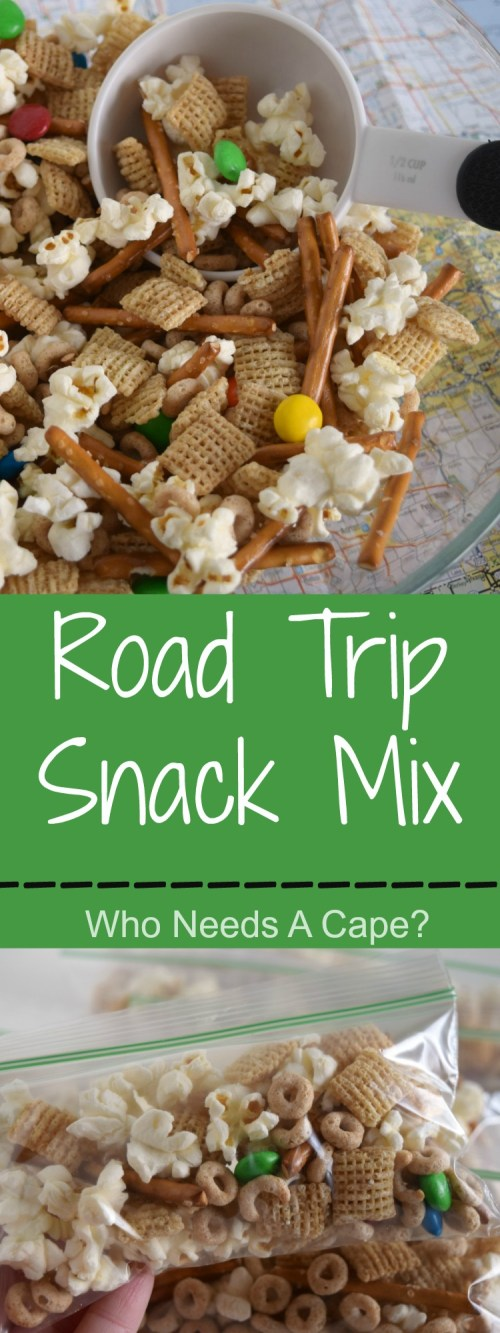 Make this easy to prepare Road Trip Snack Mix for your next family road trip. Loaded with delicious items, it'll save you from stopping for snacks. | Who Needs A Cape?