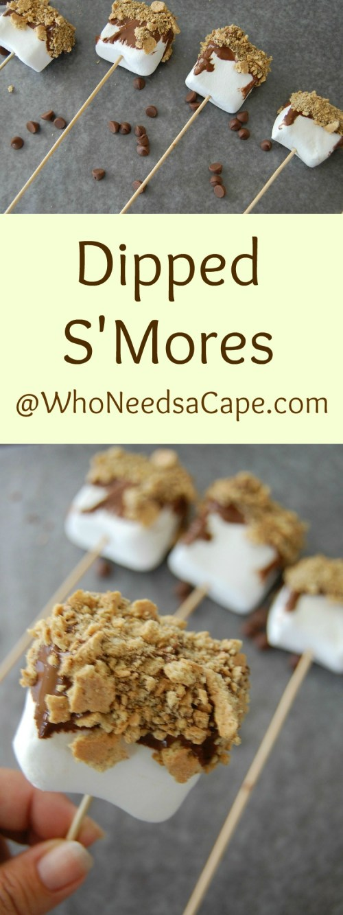 Dipped S'Mores are a super fun Summer Treat - easy to make and your kids can make them too! Who Needs a Cape