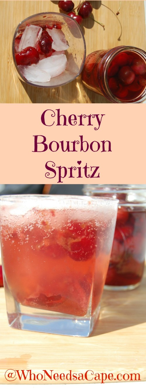 Cherry Bourbon Spritz takes your bourbon cocktail to the next level. Muddled fresh cherries and cherry bourbon You are going to LOVE this Who Needs a Cape