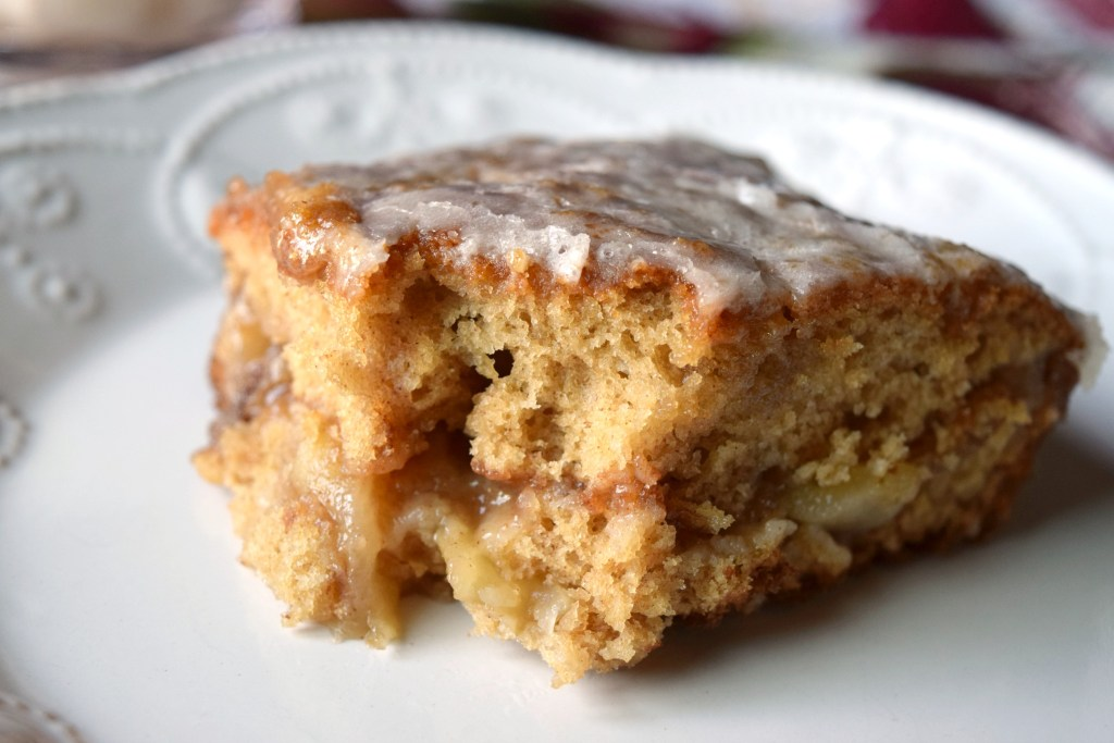 Need a simple dessert that delivers great taste? Apple Fritter Cake is a tender cake, with a layer of apples and a delicious glaze on top.