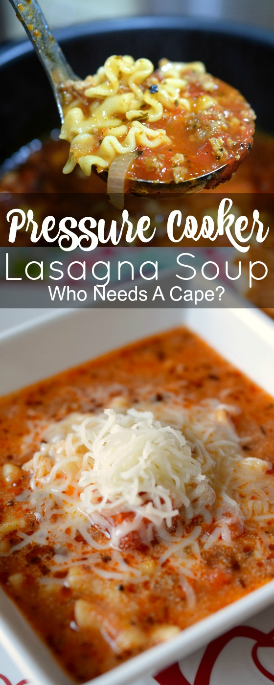 Use your pressure cooker or Instant Pot to make tasty Pressure Cooker Lasagna Soup. An easy to make comfort food that taste just like the traditional dish.