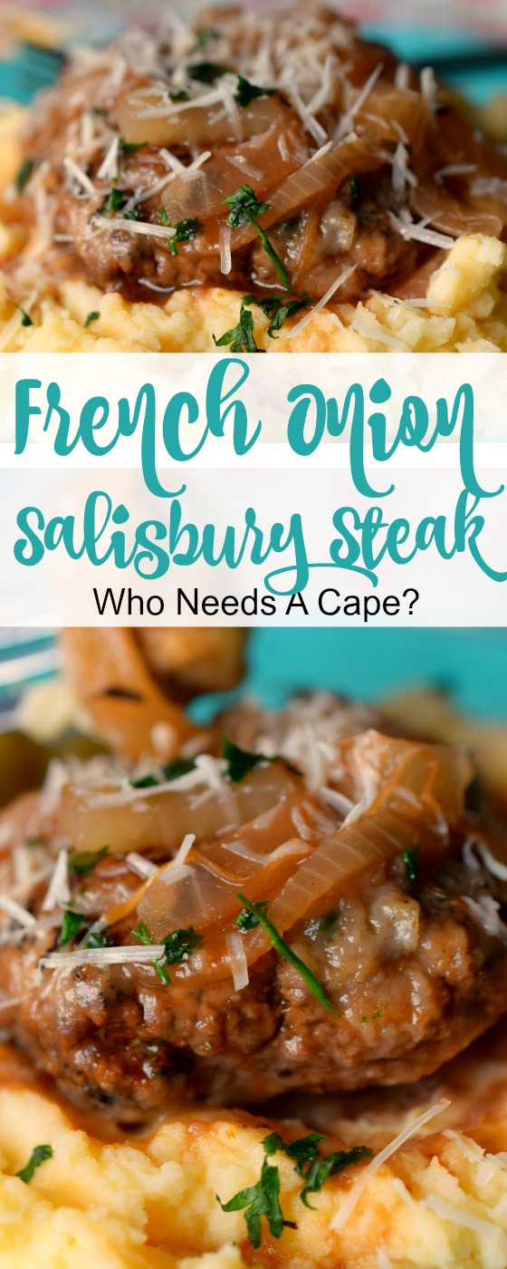 French Onion Salisbury Steak is a deliciously hearty meal that's easy enough for weeknights. Serve over mashed potatoes for the ultimate comfort meal.