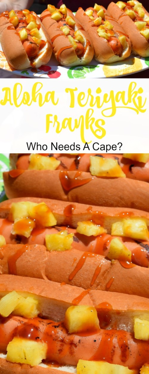 Aloha Teriyaki Franks. a simple grilled meal that will take your taste buds on a journey. Fun for BBQ's, your guests will devour these tropical topped hot dogs.