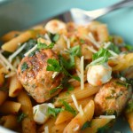 Penne with Chicken Meatballs and Mozzarella
