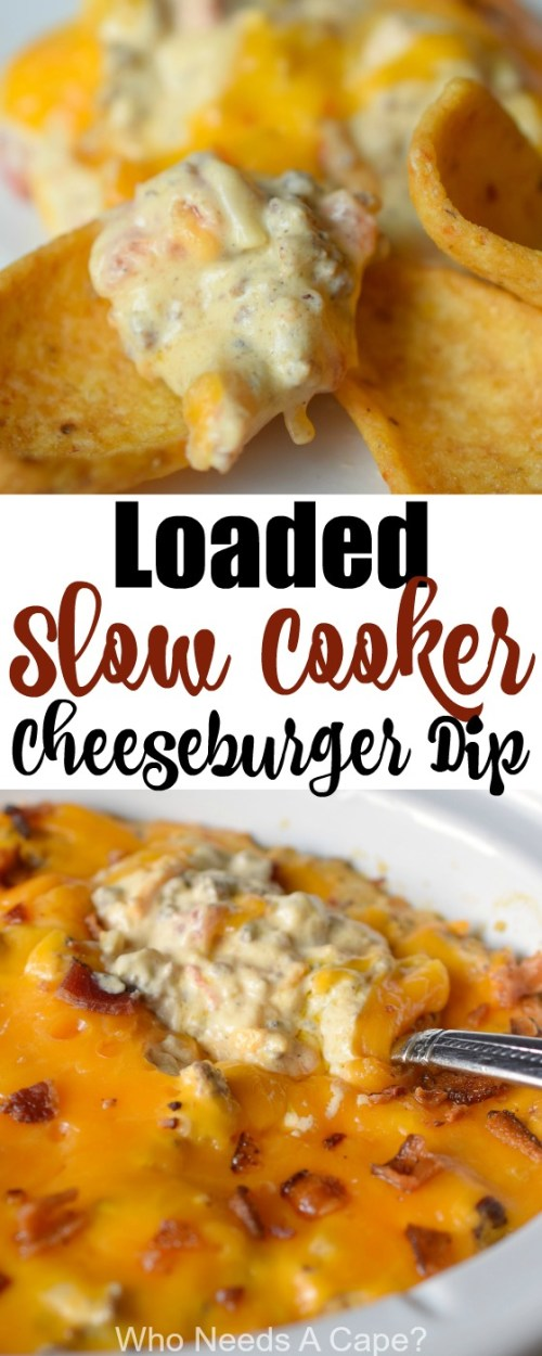 Perfect for holidays, parties or tailgating Loaded Slow Cooker Cheeseburger Dip is delicious! With cheeses and bacon, you know it'll be a great appetizer.