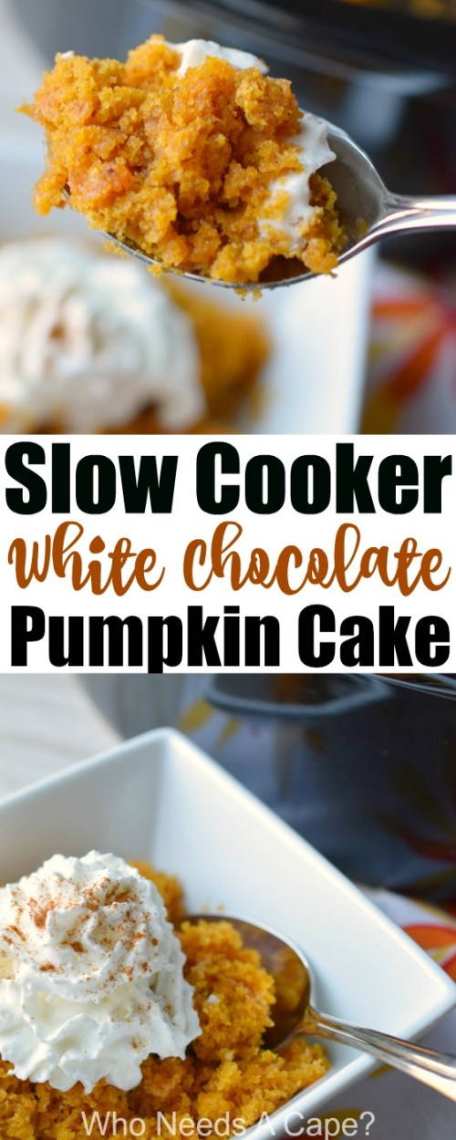 Slow Cooker White Chocolate Pumpkin Cake is a delicious dessert in a snap from your crockpot. The ease and deliciousness of a dump cake, perfect for fall.