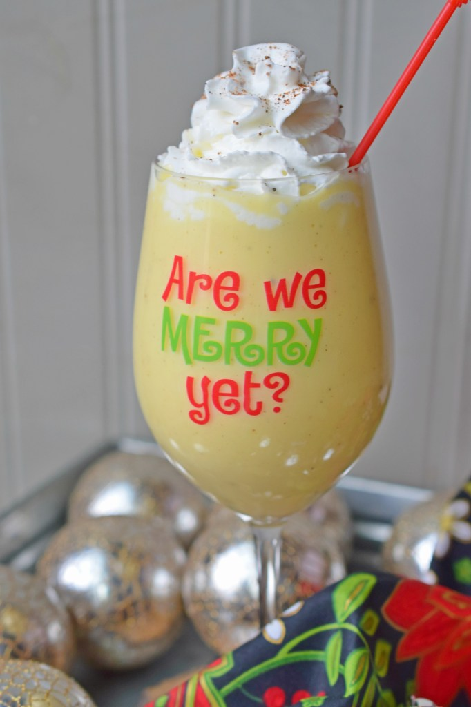 My new favorite holiday beverage, No Egg in This Nog {Eggless Eggnog}. All the great flavors of the traditional drink with NO EGG!