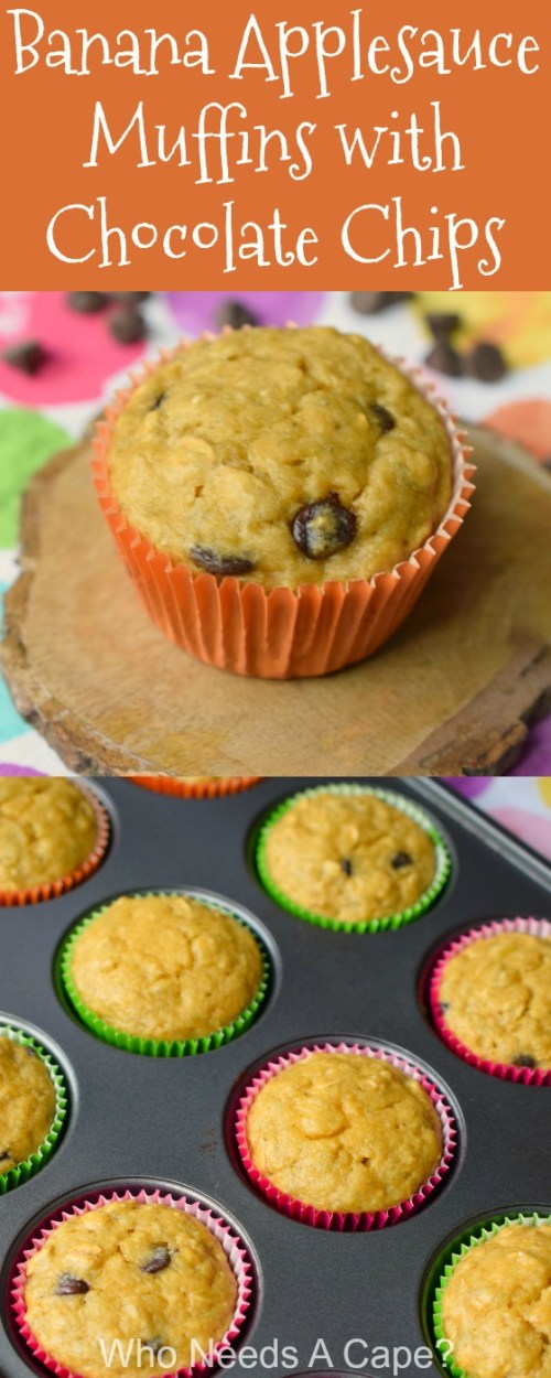 Banana Applesauce Muffins with Chocolate Chips, a great way to get some extra fruit into your family. Easy to make, perfect for breakfast or snacking.