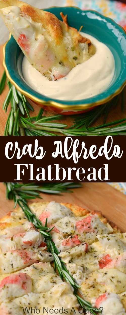 Crab Alfredo Flatbread is a deliciously simple appetizer that's perfect for holiday entertaining. Easy to prepare, you'll love the flavors!