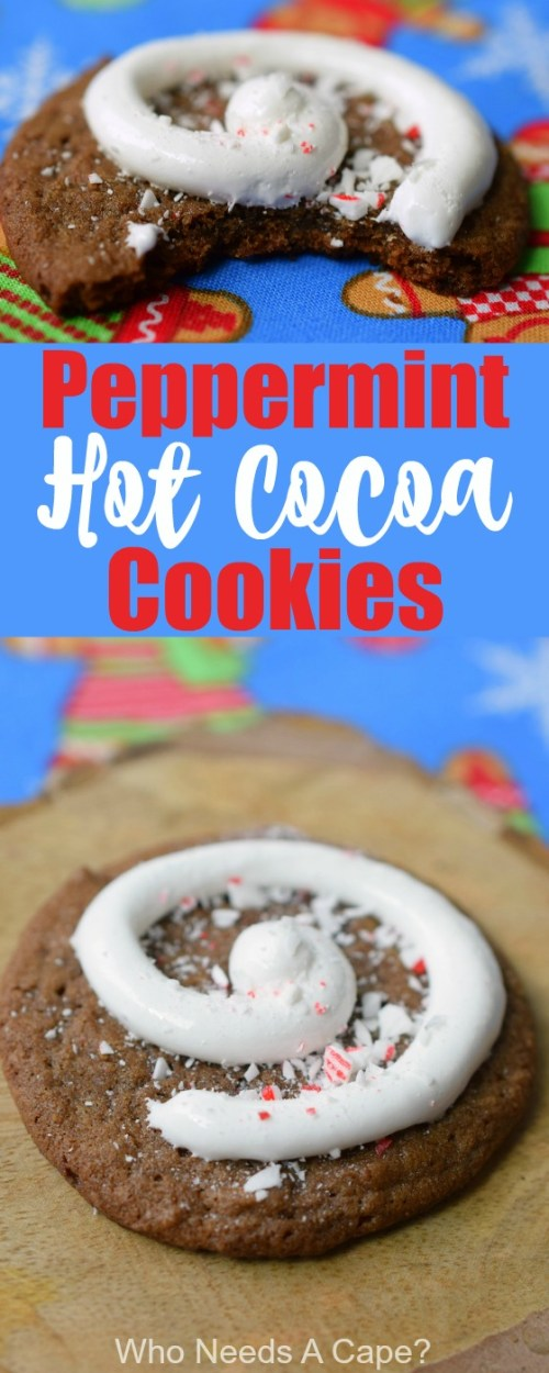 Peppermint Hot Cocoa Cookies make a delightful addition to Christmas cookie trays. Easy to make, you'll love these for the holidays.