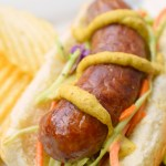 Bratwurst with Honey Dijon Broccoli Slaw