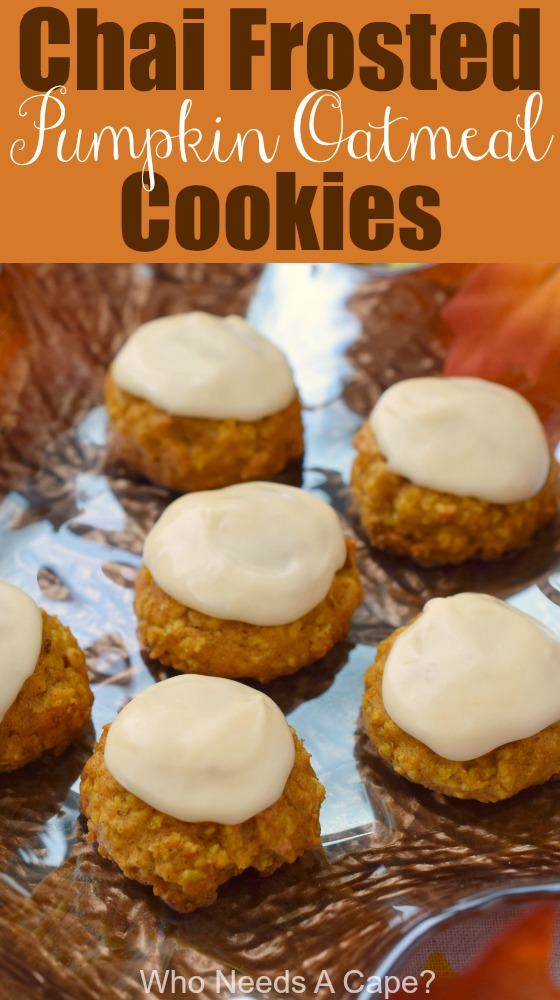 Chai Frosted Pumpkin Oatmeal Cookies