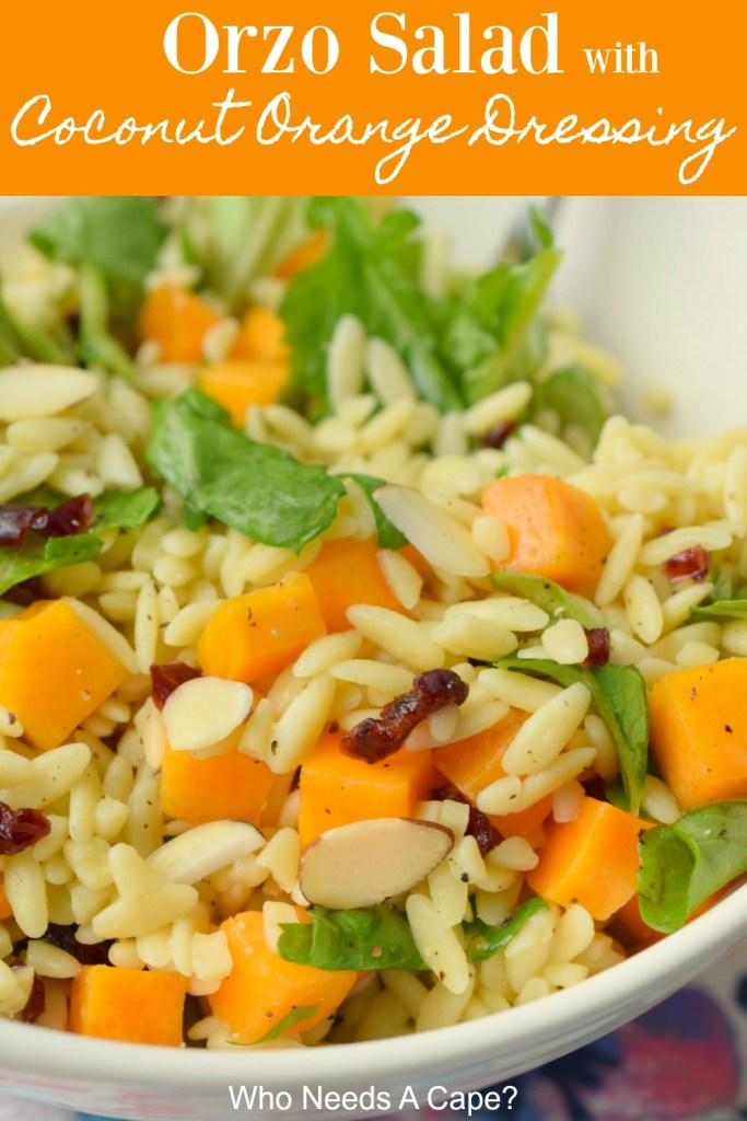 orzo salad with chunks of kale, butternut squash in white bowl