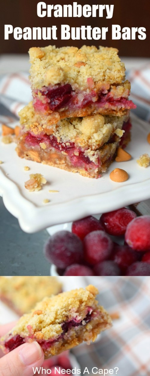 Cranberry Peanut Butter Bars are an easy to make dessert that combines great flavors. Perfect for the holiday season, you'll love them for dessert.