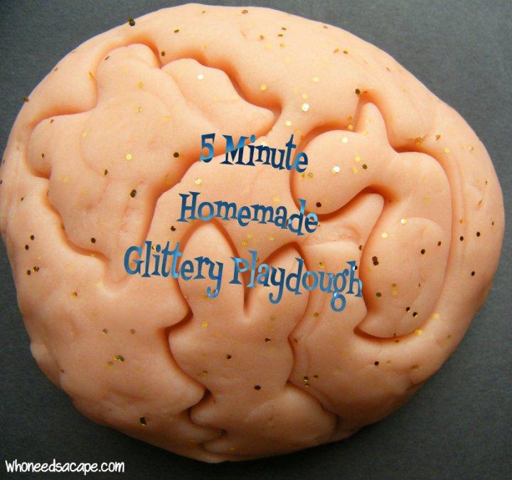 5 Minute Homemade Glittery Playdough