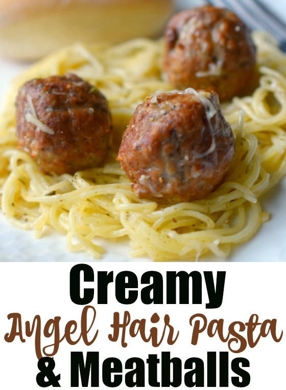 Creamy Angel Hair Pasta & Meatballs