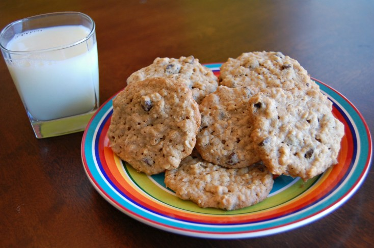 Chewy Peanut Butter Oatmeal Chocolate Chip Cookies