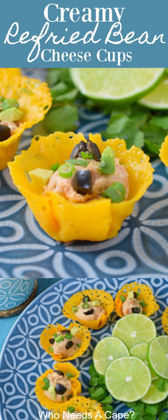 Creamy Refried Bean Cheese Cups are an easy appetizer perfect for parties, game day or the holidays. You'll love their bite-sized delicious pop of flavor.