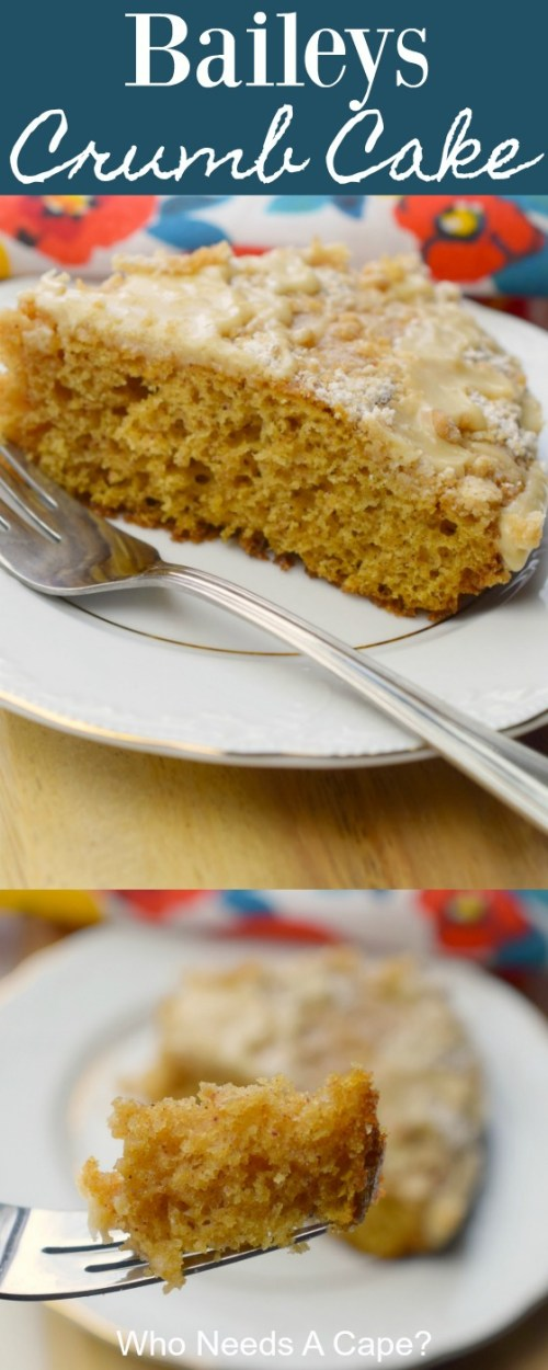 baileys crumb cake slice on white plate with fork on wood board next to floral fabric