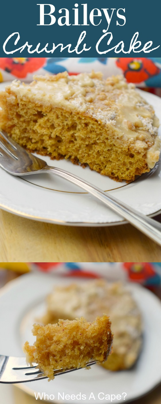 Whip up this easy to make Baileys Crumb Cake for brunch or dessert. A tender cake made with buttermilk and Baileys, you know its delicious.