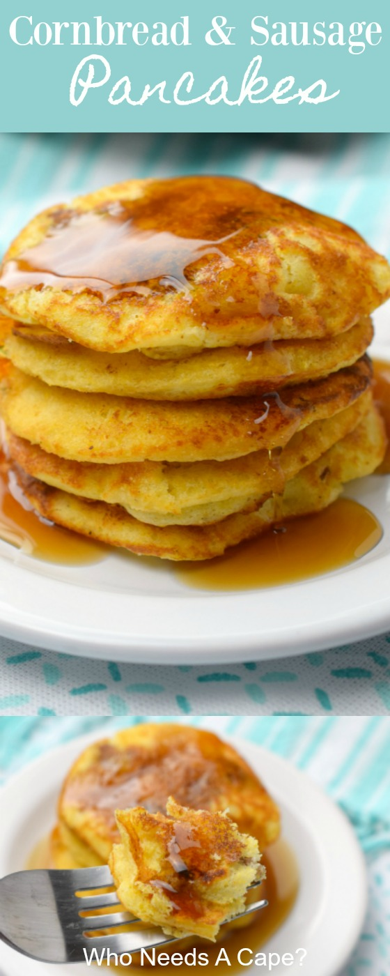 Cornbread & Sausage Pancakes are my favorite way to enjoy pancakes. With chunks of breakfast sausage inside, brunch just got that much better.