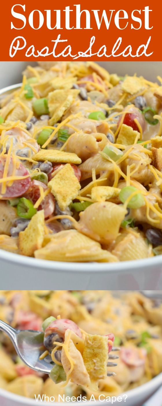 Southwest Pasta Salad is the perfect side dish for BBQ's and grilling. With loads of great flavors in one dish, it's fantastic with burgers and hot dogs.