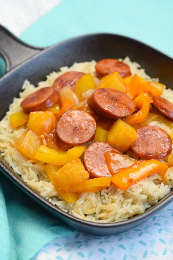 Sweet & Sour Hawaiian Kielbasa with Garlic Rice